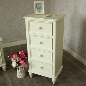 Florence Range - Cream 4 Drawer Tall Boy