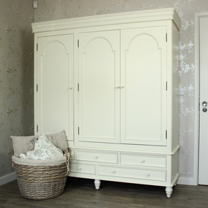 Florence Range - Cream Triple Wardrobe With Drawers