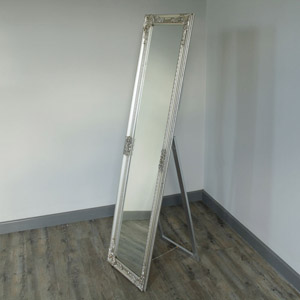 Silver Ornate Freestanding Cheval Mirror