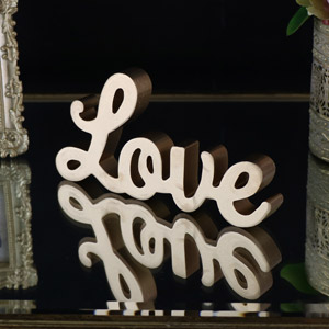Freestanding Gold Cutout 'Love' Standing Letters Plaque / Quote