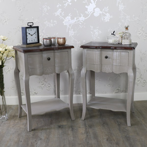 French Grey Range - Furniture Bundle, Pair of Grey Bedside Tables with Shelf