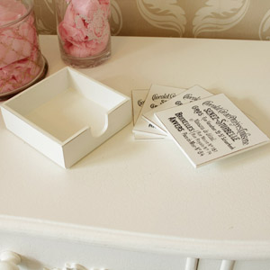 White & Black French Style coasters (Set of 4)