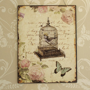Birdcage and Rose Plaque
