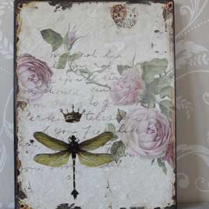 Dragonfly and Rose Vintage Plaque