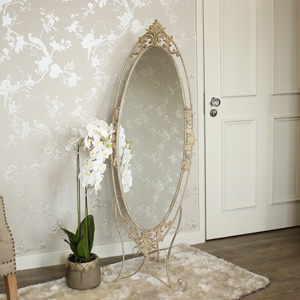Full Length Ornate Cream Cheval Mirror