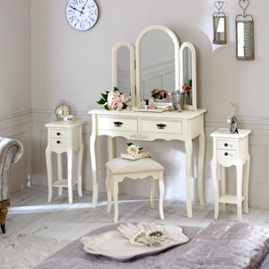 Furniture Bundle, Cream Dressing Table, Triple Mirror, Stool and 2 Slim Bedside Tables - Belgravia Range
