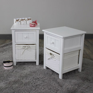 Pair of White 1 Drawer Wicker Basket Units