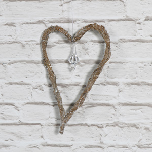 Rustic Glitter Hanging Heart Pendant Decoration