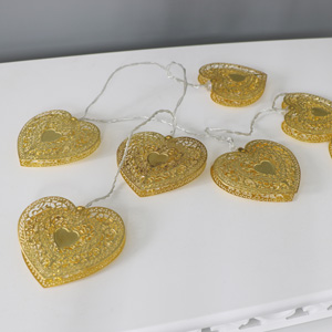 Gold Bohemian Heart Fairy Lights