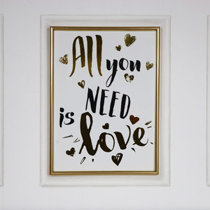 "Gold Framed Wall Plaque ""All you need is love"""