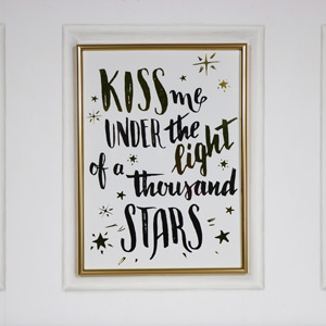 "Gold Framed Wall Plaque ""Kiss me....."""