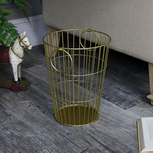 Gold Metal Waste Paper Basket bin