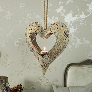Gold Ornate Hanging Heart Tealight Holder