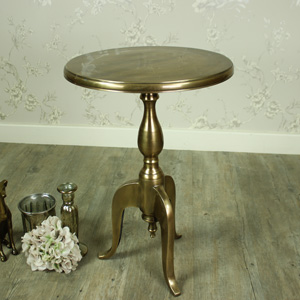 Gold Round Metal Pedestal Side Table