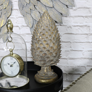 Golden Pine Cone Finial Ornament
