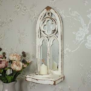 Gothic Style Arched Mirrored Wall Mounted Candle Sconce