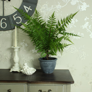 Artificial Green Bracken Fern Bush in Grey Pot