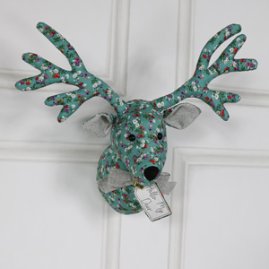Green Floral Fabric Wall Mounted Stag Head
