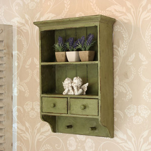 Antiqued Green Shelf Unit with Drawers
