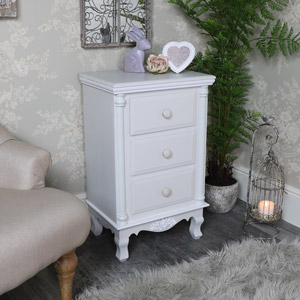 Grey 3 Drawer Bedside Chest - Claudette Range
