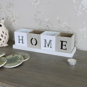 Grey and White 'HOME' Tealight Holder