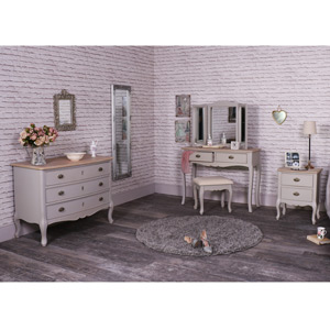 Grey Bedroom Furniture, Dressing Table Set, Large Chest of Drawers and Bedside Table - Albi Range