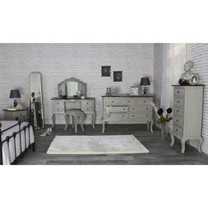 Grey Bedroom Furniture Set, Large Chest of Drawers, Tallboy Chest of Drawers, Bedside Tamp Table, Dressing Table Set - Leadbury Range