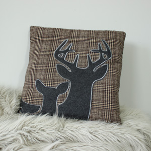Tweed style Plaid Stag Scatter Cushion