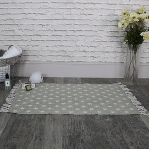 Grey Cotton Star Rug with Tassles