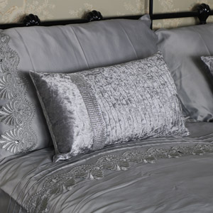 Grey Crushed Velvet Diamante Scatter Cushion