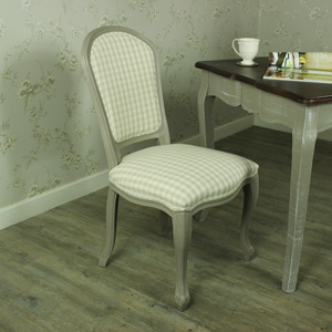 Grey Dining Chair with Beige Checked Padded Seating - French Grey Range