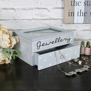 Grey Heart Jewellery Box