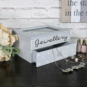 Grey Heart Jewellery Box