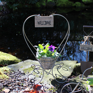 Grey Metal Heart Planter with Welcome Plaque
