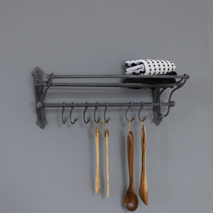 Grey Metal Rustic Towel Rail with Hanging Hooks
