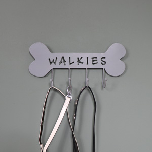 "Grey Metal ""Walkies"" Dog Wall Hooks"