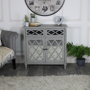 Grey Mirrored Cupboard Storage – Vienna Range