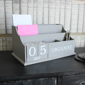 Grey Block Calendar Desktop Letter Rack
