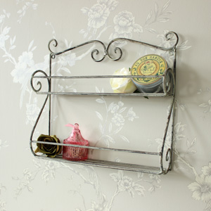 Grey Ornate Shelf Unit
