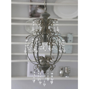 Grey Ornate Single lamp Chandelier with Droppers