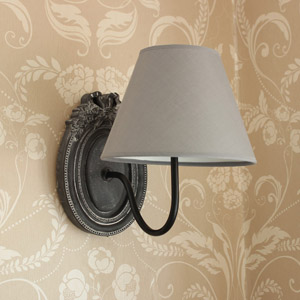 Grey Ornate Wall Lamp with Linen Shade