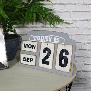 Grey Perpetual Standing Flip Calendar