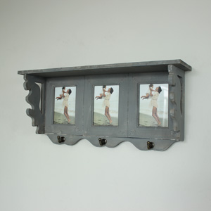 Grey Photograph Wall Shelf With Hooks