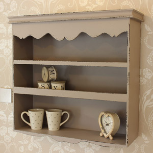 Grey Scalloped Wall Shelf Unit