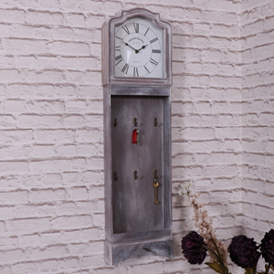 Grey Vintage Style Grandfather Clock with Key Hooks