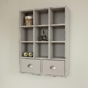 Grey Wall Cabinet with Pigeon Holes and Drawers