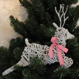 Grey Wicker Leaping Christmas Reindeer Decoration