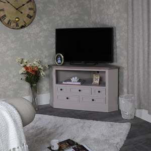 Wooden Corner TV Unit with Drawer Storage - Cotswold Range