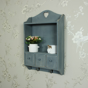 Grey Wooden Heart Wall Cabinet with Hooks