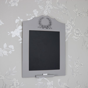 Grey Wooden Laurel Leaf Chalk Board